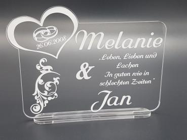 Acrylglas Schild zur Hochzeit