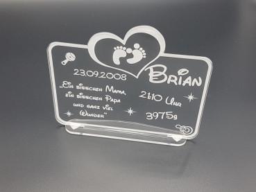 Acrylglas Schild zur Geburt - Taufe
