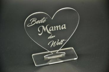 Acryl Herz mit Gravur Beste Mama
