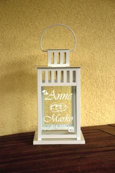 Hochzeitslaterne  Weiss inkl. Gravur  -  28cm