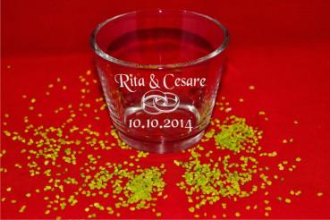 Teelichthalter zur Hochzeit Motiv Ringe